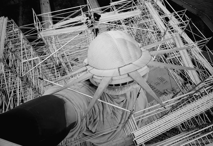 View looking down on top of head of the Statue of Libery showing body enclosed in scaffolding. May 1984. - Statue of Liberty Liberty Island Manhattan New York New York County NY [1280880] Source: Library of Congress