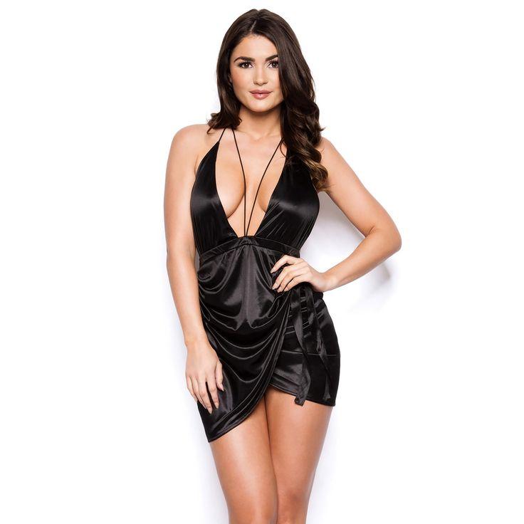 womens-black-sexy-lbd-short-mini-asymmetric-hem-plunge-neckline-strappy-dress