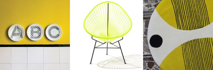 From left to right: ABC Plates by @ilaryinnocenti; Acapulco Chair by Boqa; Solar Opposite rug by Andrew Ludick.