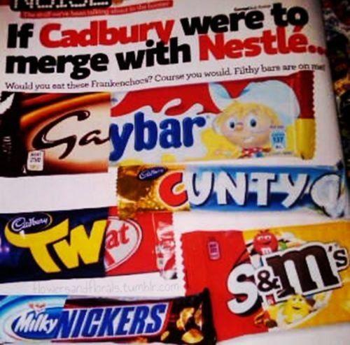 Cadbury + Nestle....