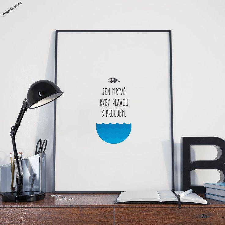"""Motivační obraz s oblíbeným citátem """"Jen mrtvé ryby plavou s proudem."""""""
