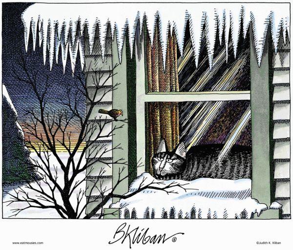 Winter kitty. Kliban's Cats on GoComics.com #Cats #Winter #Comics