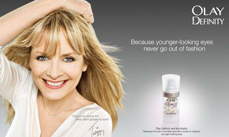 This image was designed for women age 30 or above. It used the technique of testimonials, where well-known figure was shown to gain more popularity of the product. The slogan used here is a strong reason why women age 30 or above should buy this product. Most of the women like to stay in fashion no matter how old they are. This slogan is suitable to their mentality, so they can easily accept the product.
