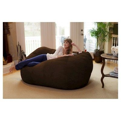 Large Memory Foam Bean Bag Lounger 6 ft - Chocolate - Relax Sacks, Brown