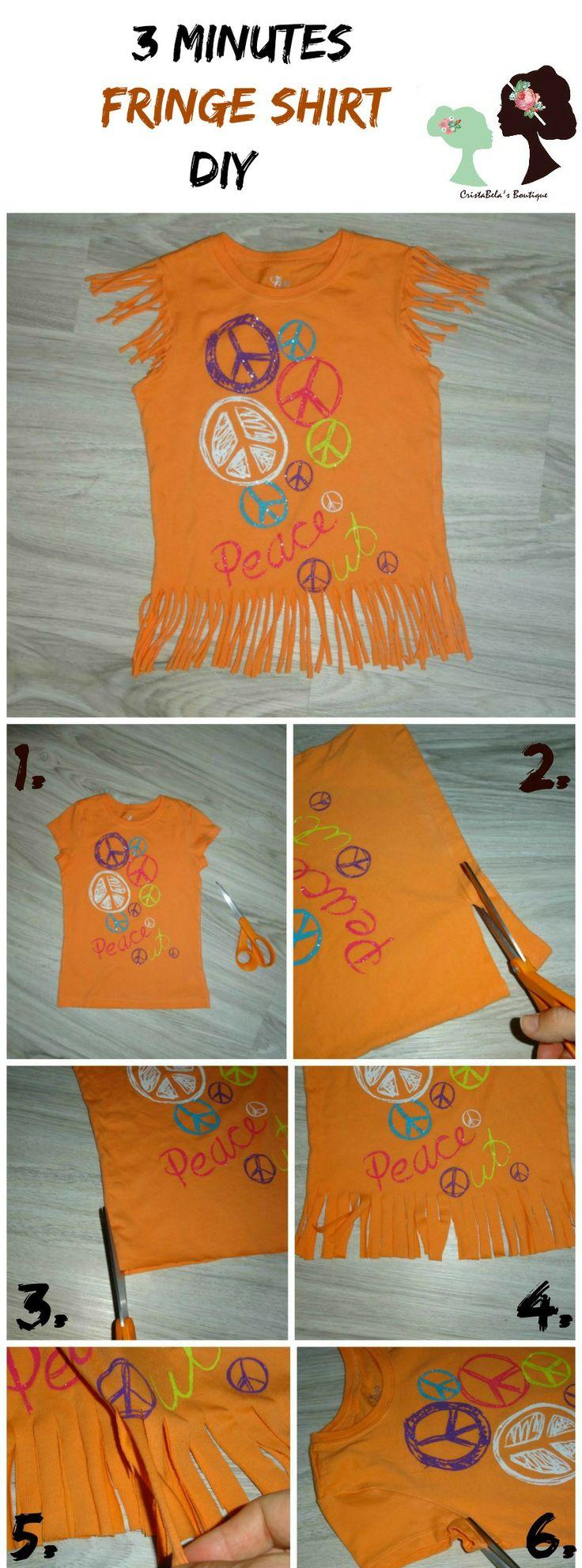3 Minutes Fringe Shirt DIY,easy Fringe shirt DIY