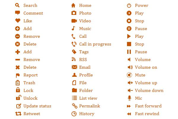 Pure css3 icons!  css icons like search magnifying glass, comment icon, like heart, add, remove, delete, report flag, trash, lock, unlock, update status, retweet, home, photo, video camera, music note, call, phone, tas icon, rss, email icon, profile person icon, file, folder, list view icon, permalink, history, power, play button icon, stop, pause, volume, mute, microphone, fast forward, rewind.
