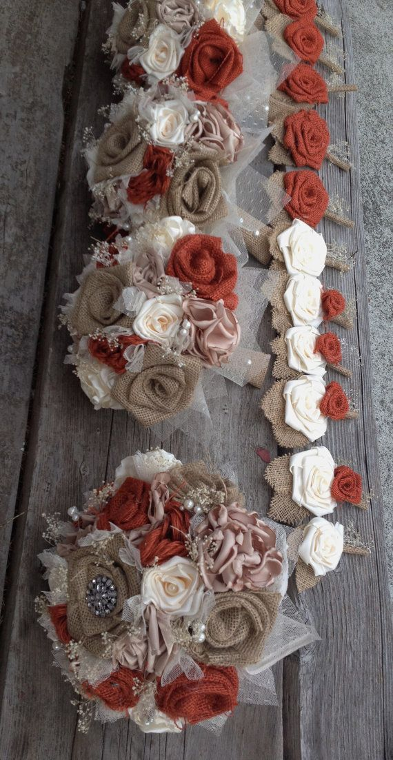 Rustic burnt orange burlap and ivory silk bouquets (listing is for one bridal bouquet)
