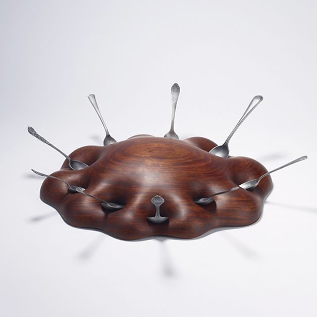 Joo Hyung Park Moment, Pleasure ll. Bubinga wood, old cutlery, ottchil (urushi) Object/bowl 2015