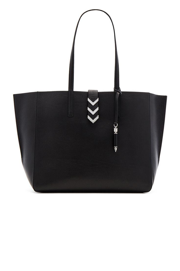 Mackage Aggie Tote Bag in Black & Gunmetal