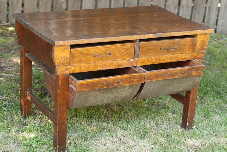 Rustic Wood Baker S Table With Metal Potbelly Drawers