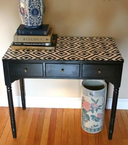 Love the stenciled top- could do this to my desk
