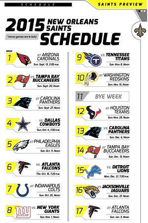 New Orleans Saints 2015 schedule