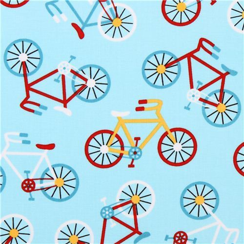 light blue bike vehicle fabric Robert Kaufman Ready Set Go 2 1