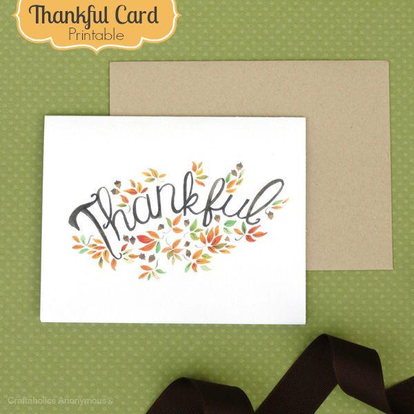 Thankful card free printable! #fall #card #printable
