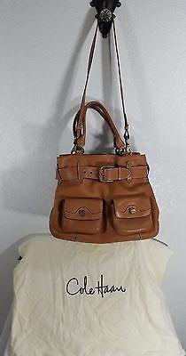 Cole Haan Handbag Leather Purse Large Brown Pockets Long Strap Handles