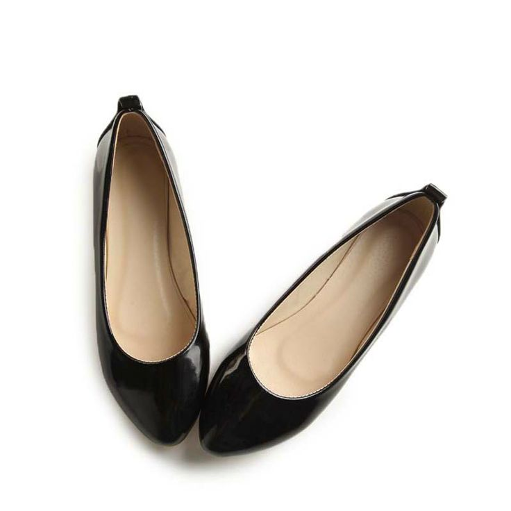 Dresswe.com SUPPLIES Nice Pure Black Small Toe Flat Shoes Flats (2)