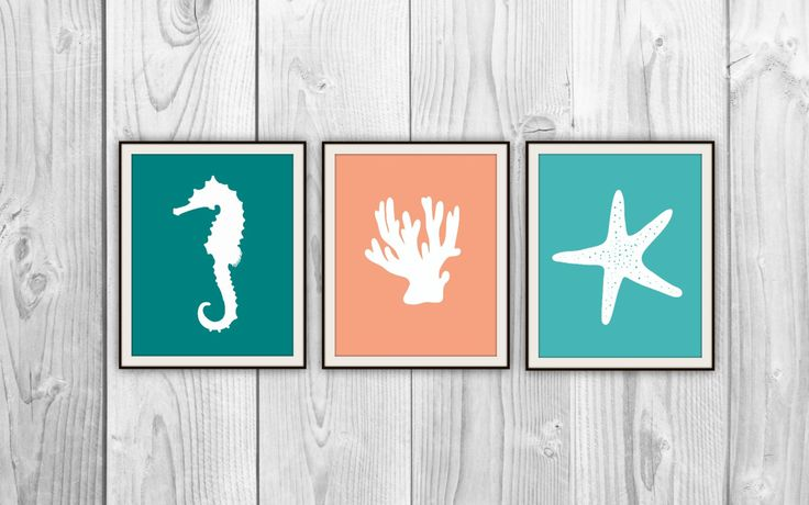 Sea Life Silhouette Set of 3 Ocean Art Prints - Nautical Bathroom, Bedroom, Beach House - Seahorse Coral Starfish - Teal Green Orange. $15.00, via Etsy.