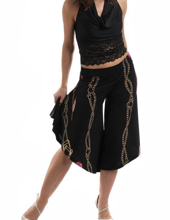 Wide-leg pants, culottes pants, tango practice pants, tango pants, knee-length pants, capri pants