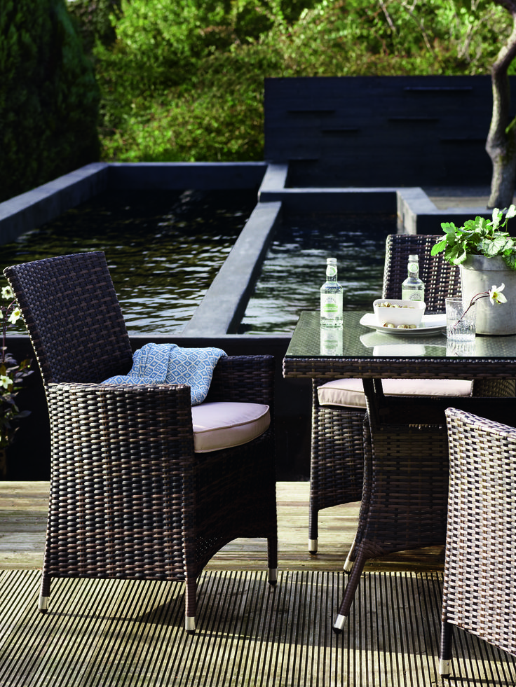 A small wicker table and arm chairs in a dark colour with white cushions  and a glass top table. 62 best Rattan garden furniture images on Pinterest   Rattan