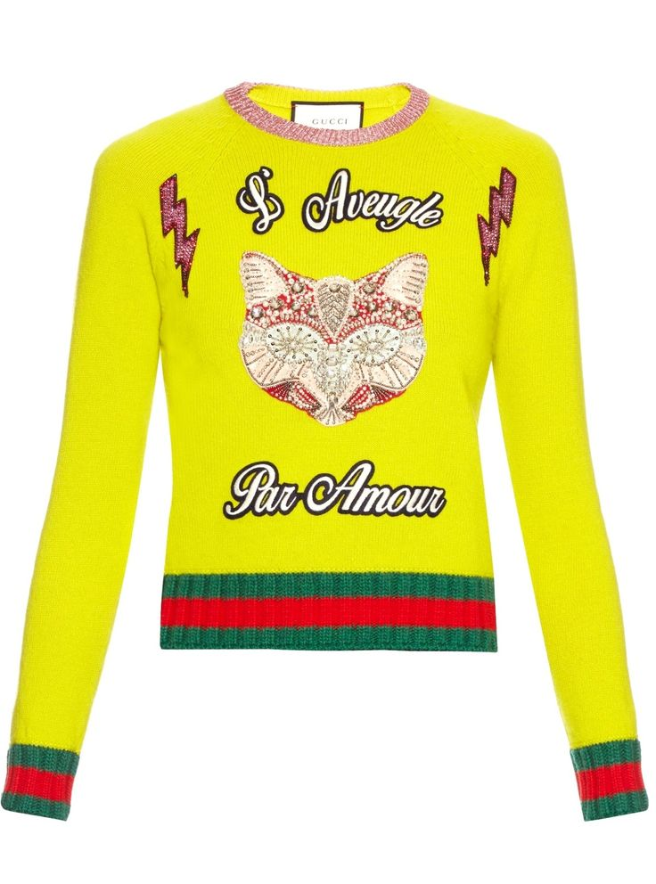 Gucci Fox Embroidered Knit Top Neon Women's Sweater