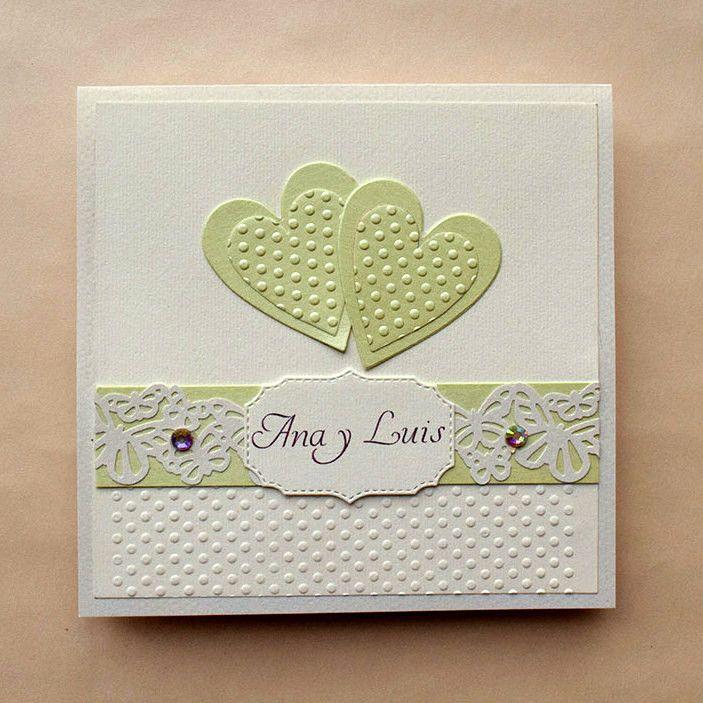 Romántica invitación de boda, detalles en un pastel color verde, decoración con lindas mariposas, el color puede ser cambiado, se aceptan pedidos mínimos de 20 piezas.