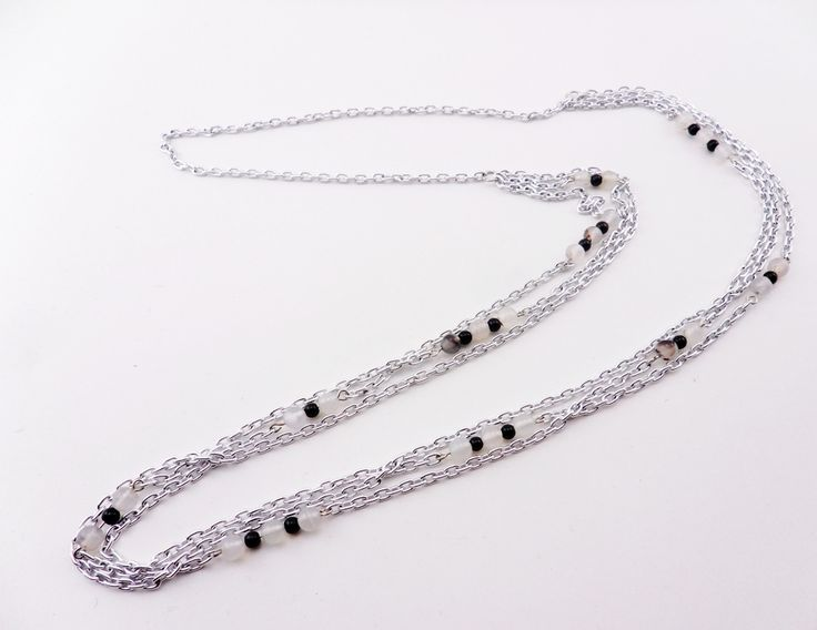"""Natural Agate and Black Stone Beads Necklace 30"""""""
