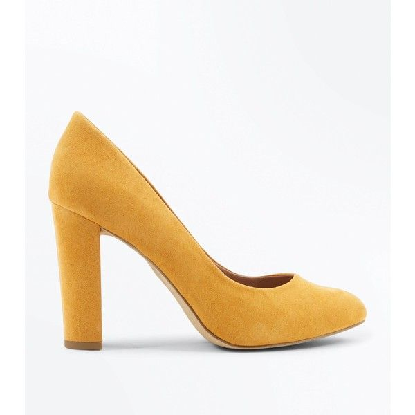 Wide Fit Mustard Suedette Block Heel Courts ($28) ❤ liked on Polyvore featuring shoes, pumps, mustard, wide fit shoes, wide width shoes, block heel pumps, new look shoes and mustard yellow pumps