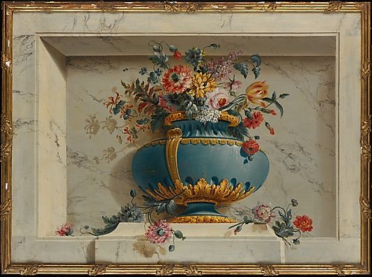Vase Of Flowers In A Niche Attributed To Michel Bruno Belleng The