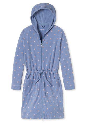 Bademantel Leichtfrottee mit Kapuze und Reißverschluss jeansblau gepunktet - someday in winter | SCHIESSER