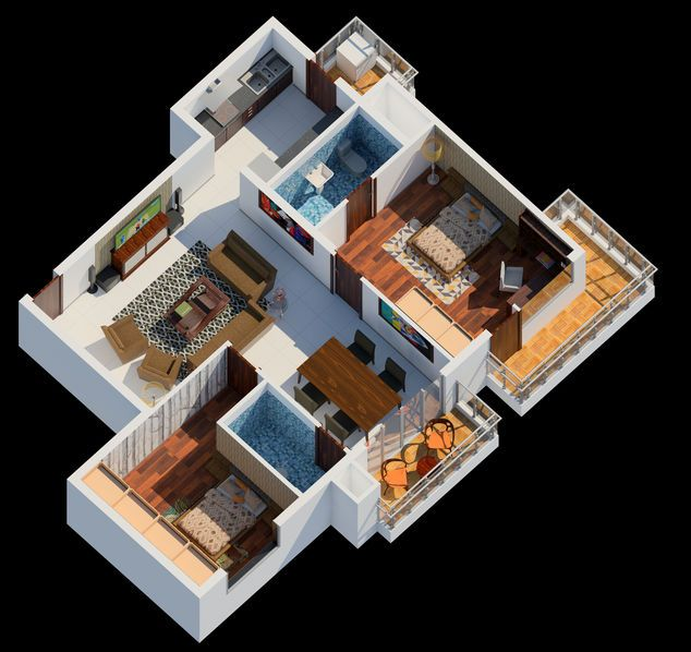 2BHK housing apartment and its interior isometric