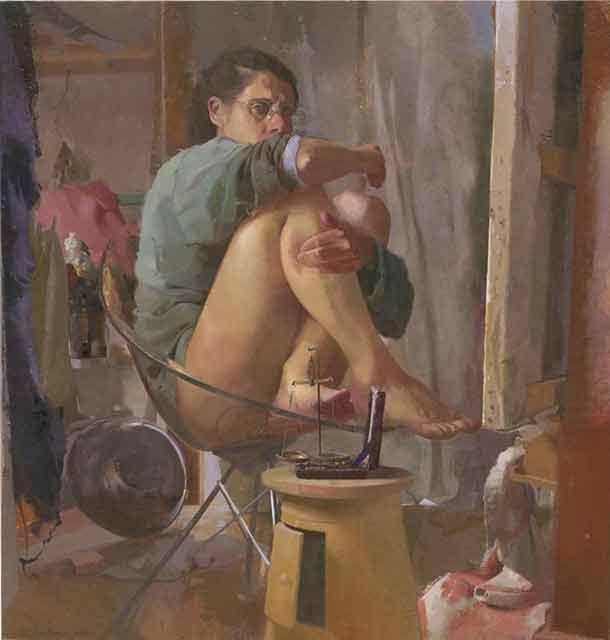 Sigal Tsabari , Hidden, 102.5x 102cm 2008-10 oil on canvas