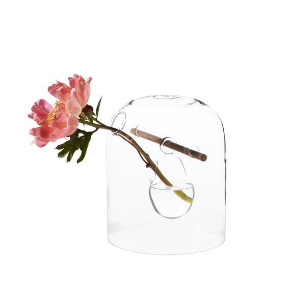 Le vase Tori. Verre borosilicate- tige noyer- 30cmx20cm