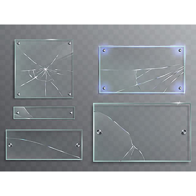 Vector Illustration Set Of Transparent Glass Plates With Cracks