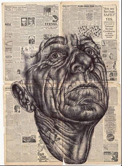 WHO: Mark Powell WHAT: No name. A Biro drawing on a newspaper. WHY: I chose this because I love how the image is super realistic but appears to be incomplete. I also love how it is drawn onto a newspaper because it gives it more texture.