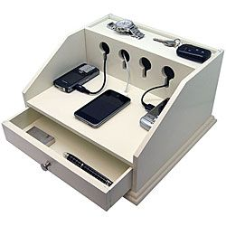 @Overstock - Organize your electronic devices with the deluxe Charging Station ValetDesk organizer has two open shelves and a pull-out drawerWood desk accessory provides a place for you to store and organize your cell phone, PDA and morehttp://www.overstock.com/Gifts-Flowers/Heiden-Deluxe-White-Charging-Station-Valet/4064148/product.html?CID=214117 $59.99