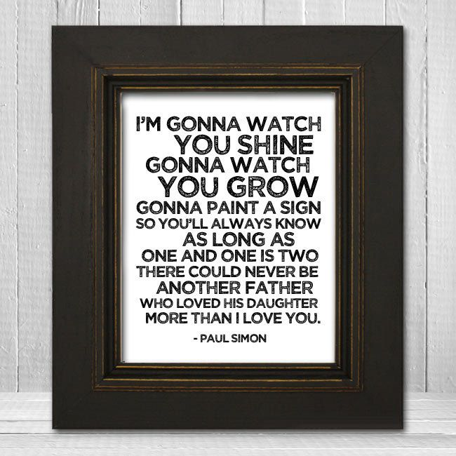 I want to buy this for Alex if I have a daughter....Song Lyrics Nursery Print 11x14 - Father & Daughter Nursery Print - Paul Simon Music Art Print - Father's Day Gift. $23.00, via Etsy.