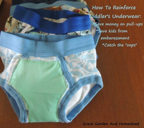 """How to reinforce toddler underwear. This is an excellent way to save money on pull-ups, and save the kid from embarrassing """"oops"""" moments. It's pretty easy too."""