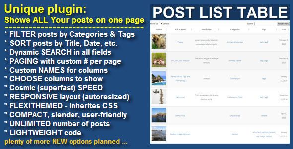 Wordpress Post List Table . Instead of oversophisticated blogs, portfolios, grids, etc. You will get universal tool – ALL Your posts on the ONE PAGE via flexible and responsive table with Filtering, Sorting and Searching capabilities!The table completely customizable and it is compatible with all browsers and devices (iPhone,