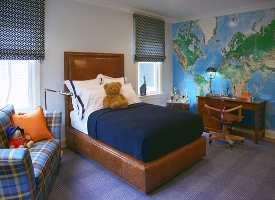 Robyn Karp Interiors - boy's rooms - Toys R Us World Map Wall Mural, blue walls, blue wall color, boys room, world map wallpaper, world map ...