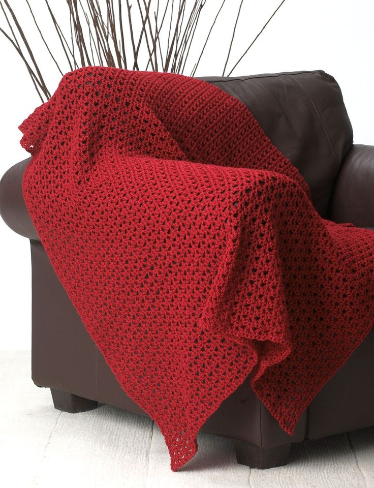 Yarnspirations.com - Bernat Basic and Easy (Red) Blanket - Patterns  | Yarnspirations - (Pattern Downloaded - SLT)