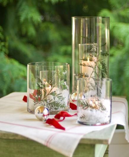 Create a white Christmas using inexpensive glass cylinders from a crafts store. Click for details + more quick and easy holiday decorating ideas!