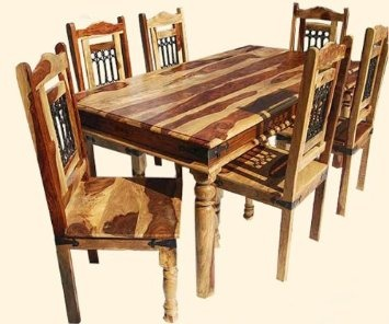 Bribe7Pc Solid Hardwood Transitional DINING TABLE 6 Chairs Set Wrought Iron Furniture Cheaper in New Mexico US