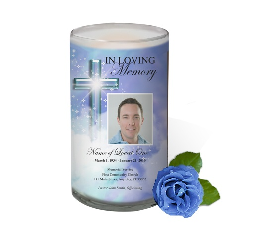 3x6 Glass Candles : Adoration Custom Photo Memorial Glass Candle 3x6
