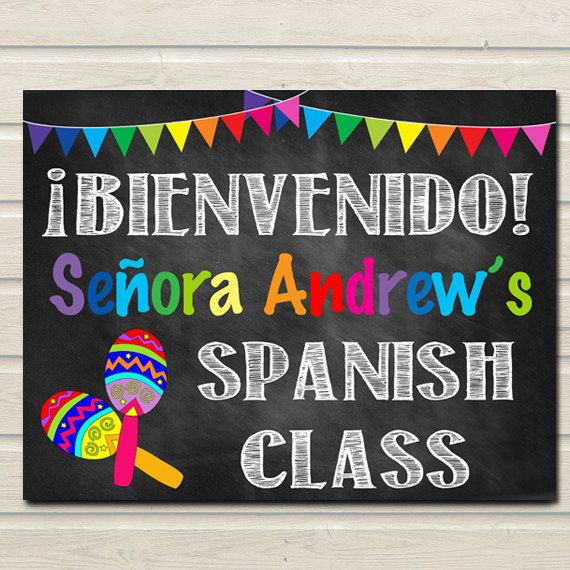 Spanish Teacher Classroom Door Sign, Bienvenido Printable Classroom Decor Custom Teacher Sign, Back to School Door Sign, Teacher Door Hanger
