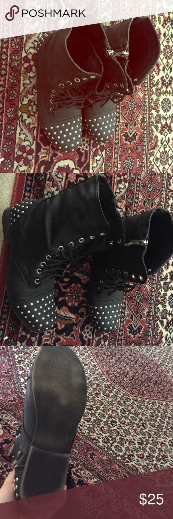 Steve Madden studded combat boots. Worn once Really cute and comfortable studded combat boots. Bought them from Steve Madden. Steve Madden Shoes Lace Up Boots