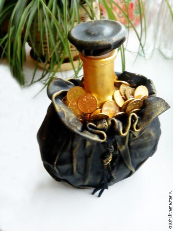 Купить Бутылка По фэншую - Бутылка декорированная, бутылка кожанная, монетки…