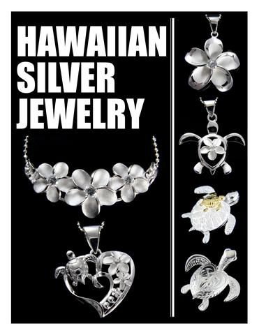 925 Sterling Silver Hawaiian Jewelry, Pendants, Plumeria, Turtle, Honu, Seastar, Seafish, Palm Tree, Maile, Maile Leaf, Hibiscus, Fishhook, Whaletail and more