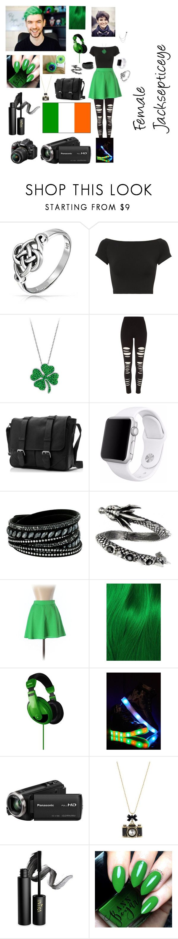 """""""Female Jacksepticeye"""" by christinacrowder124 on Polyvore featuring Bling Jewelry, Helmut Lang, River Island, Apple, Swarovski, Naven, Lime Crime, Chase & Chloe, Panasonic and Betsey Johnson"""