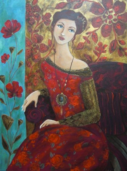Femme assise , decor floral , acrylique et huile sur toile.