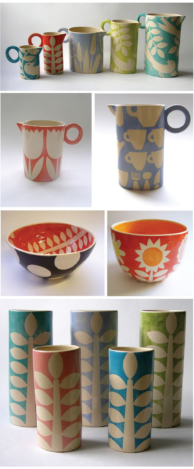Ceramic pieces of Brighton-based artist, Ken Eardley. He has taken his background as textile designer and applied his knowledge and ideas into this bold and colorful collection of ceramics. You can see his portfolio here at Yellow House Art.    Images: Courtesy of Ken Eardley and Yellow House Art.